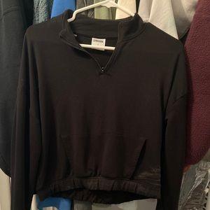 Black gymshark quarter zip Cropped Sweatshirt